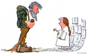Drawing of an old man of the woods facing a woman with lots of paper forms