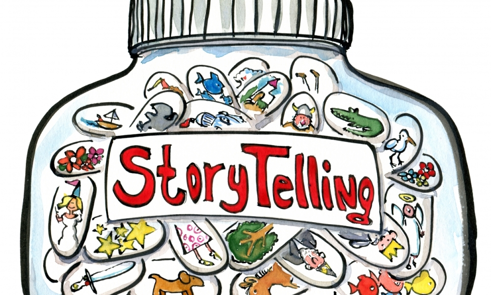 Drawing of a jar of magical storytelling Pills