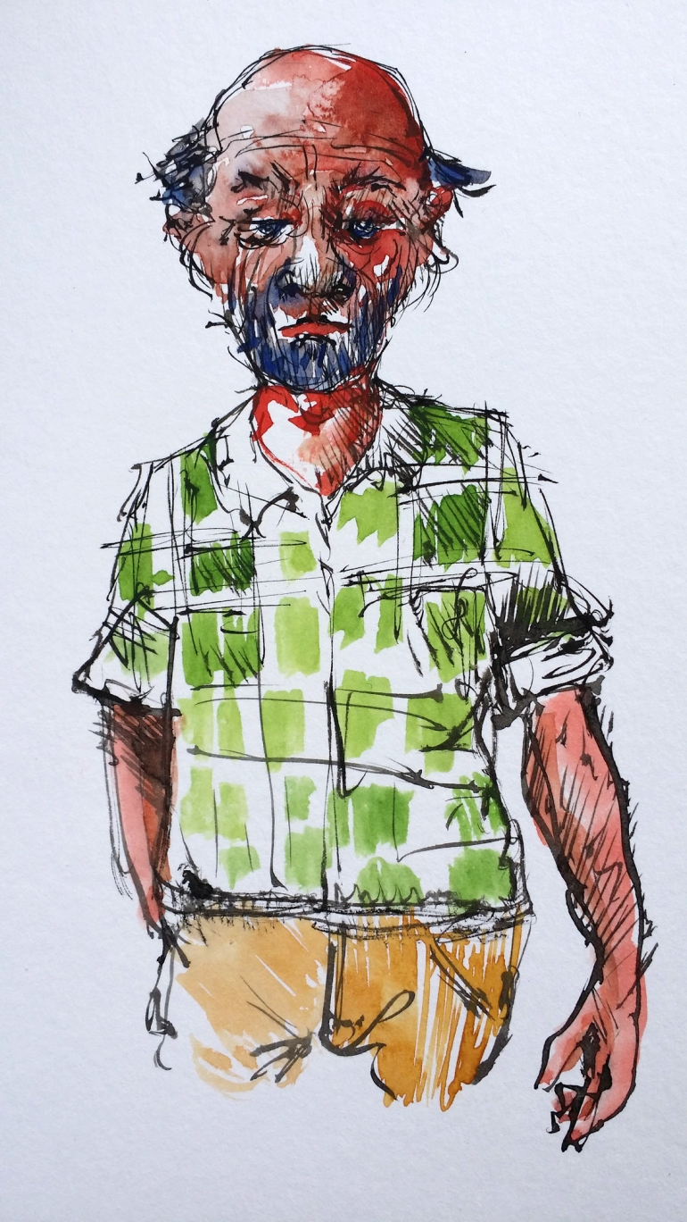 watercolor, man in green shirt, by Frits Ahlefeldt
