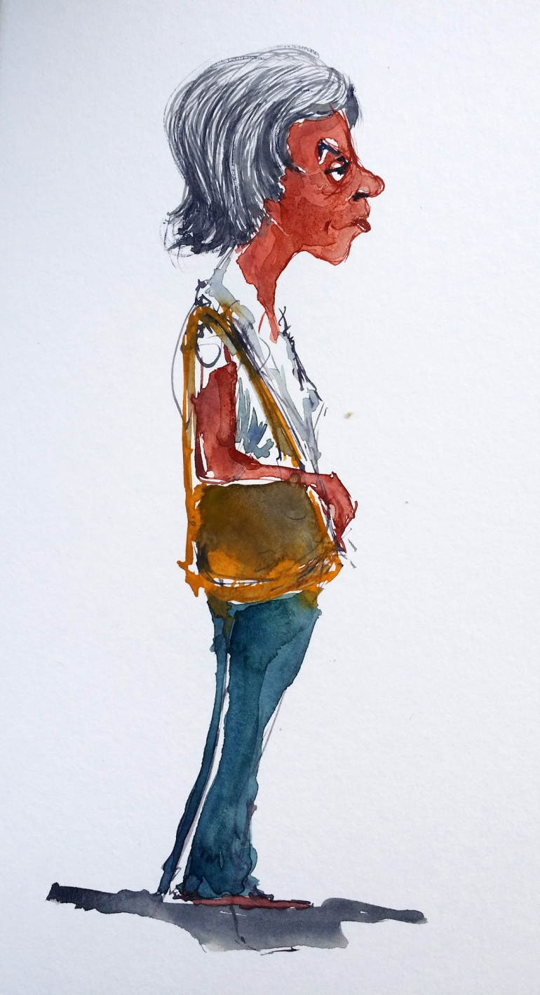 Watercolor sketch of woman from Copenhagen