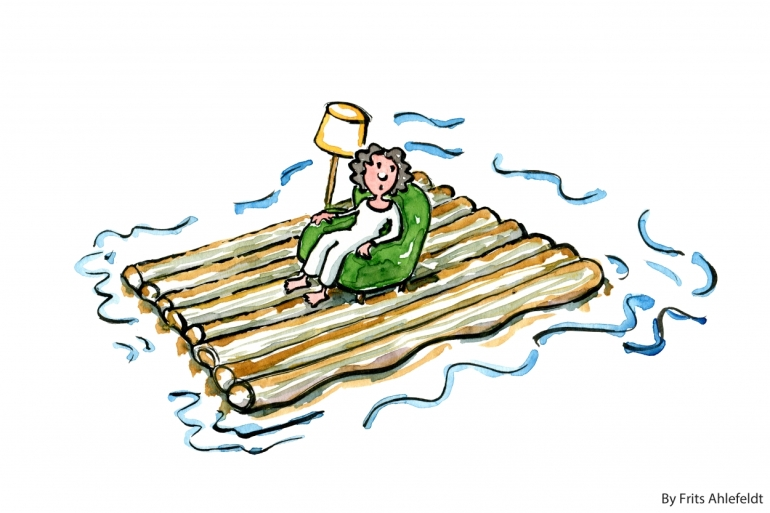 Woman on a raft, floating, with a lamp as company