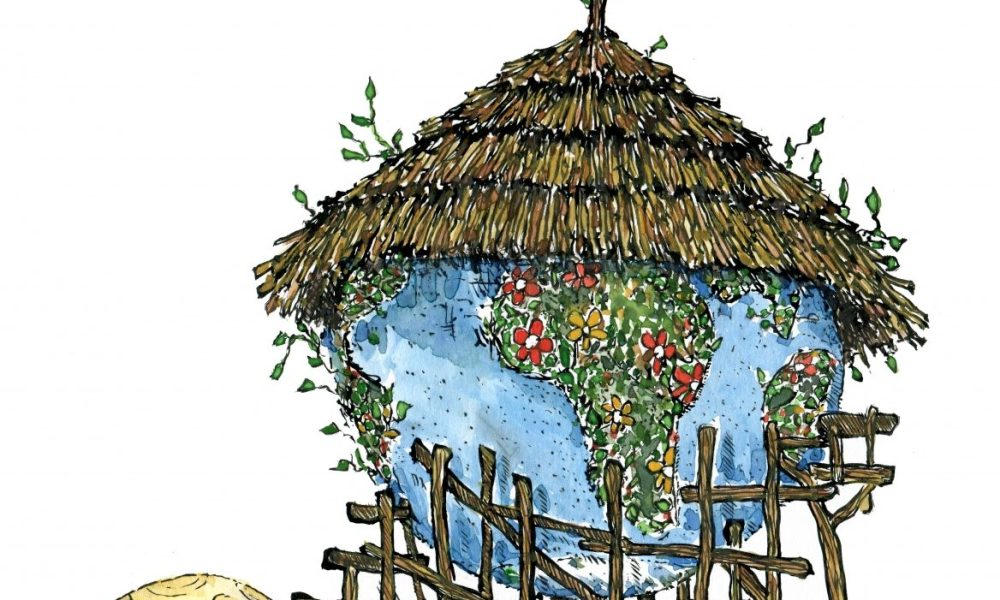 Illustration of Earth as a Hut Planet