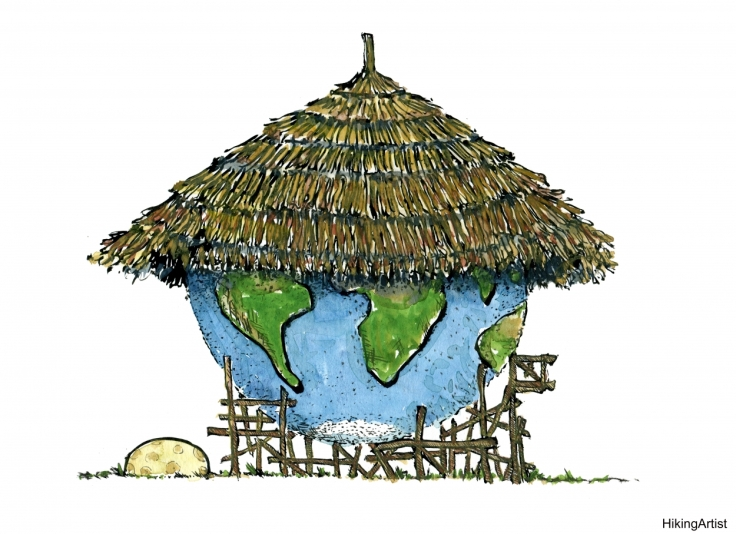 Illustration of Planet Earth as a house