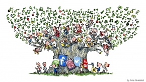 Illustration of a tree with musicians sitting in it and money people extracting the profit