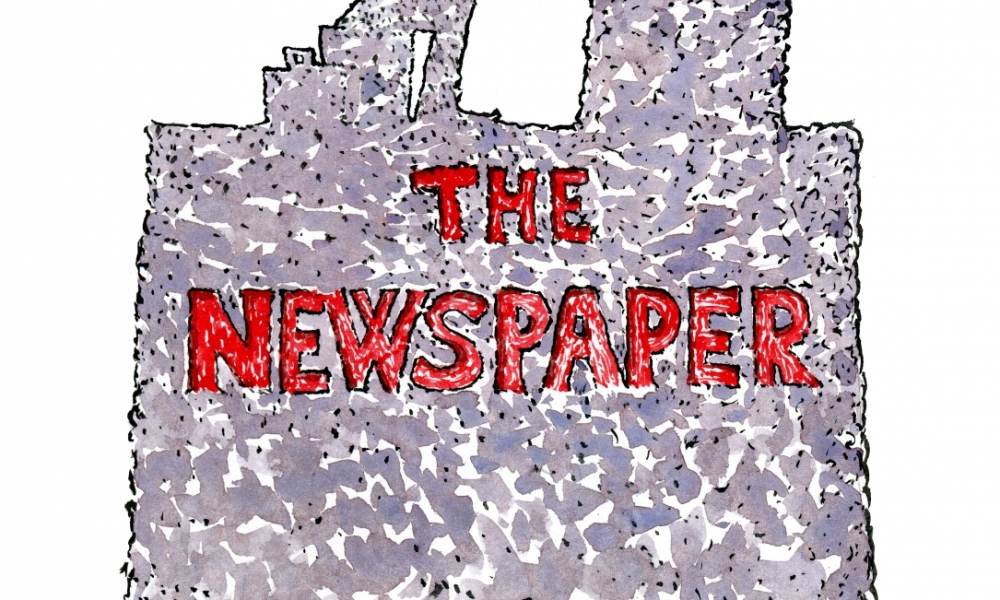 Illustration of a man Reading the Newspaper