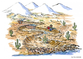 Drawing of drought, an old man sitting at a dried out riverbed