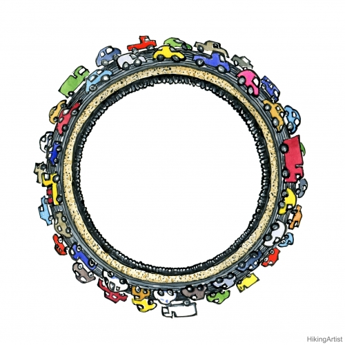 Cars drawing around an empty Circle