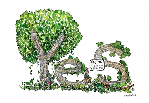 Man sitting among trees, the trees make up Yes, when he ask if they can hear him. Drawing