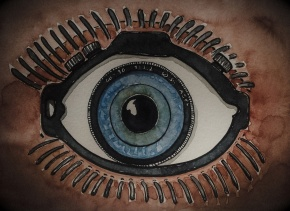 Drawing of an eye with a camera in it