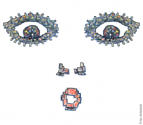 Drawing of a digital face, made up of phones, tablets and computers