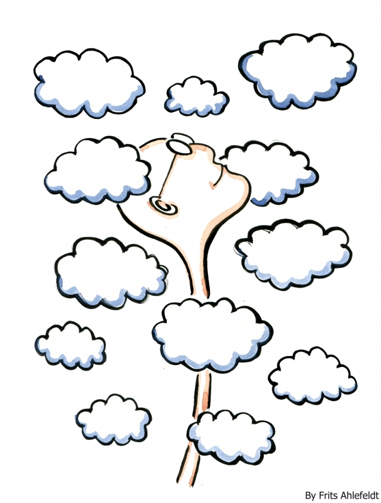 Drawing of a head between clouds