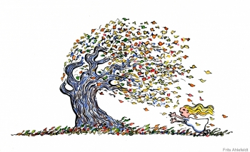 illustration of a tree and a girl in the autumn wind