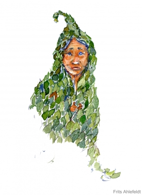 Watercolor of person wearing leaves