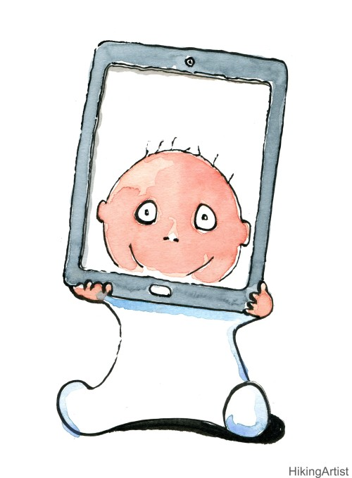 Baby with a tablet