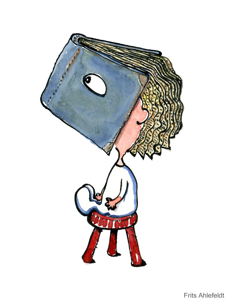 Drawing of a little girl with a book head with hair as pages
