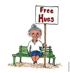 Drawing of an old lady on a bench giving away free hugs