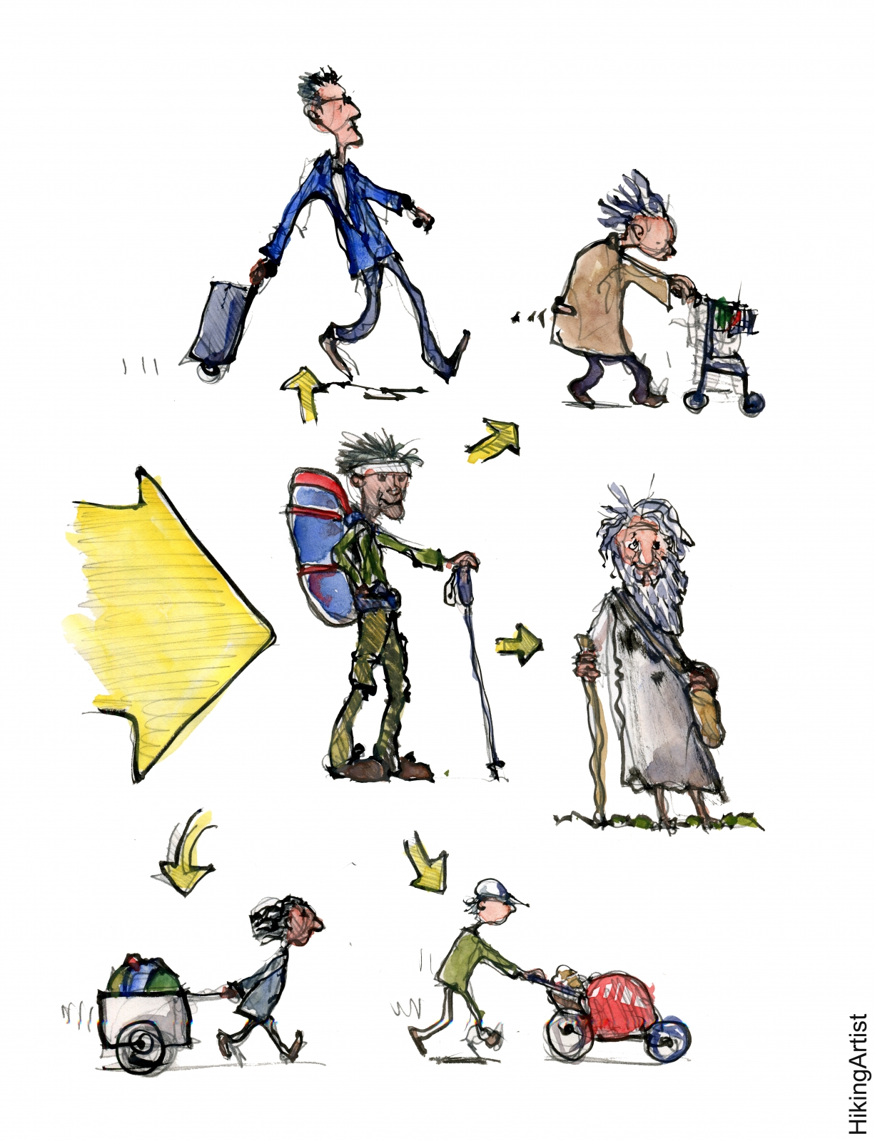 Drawing of different ways to carry luggage with wheels