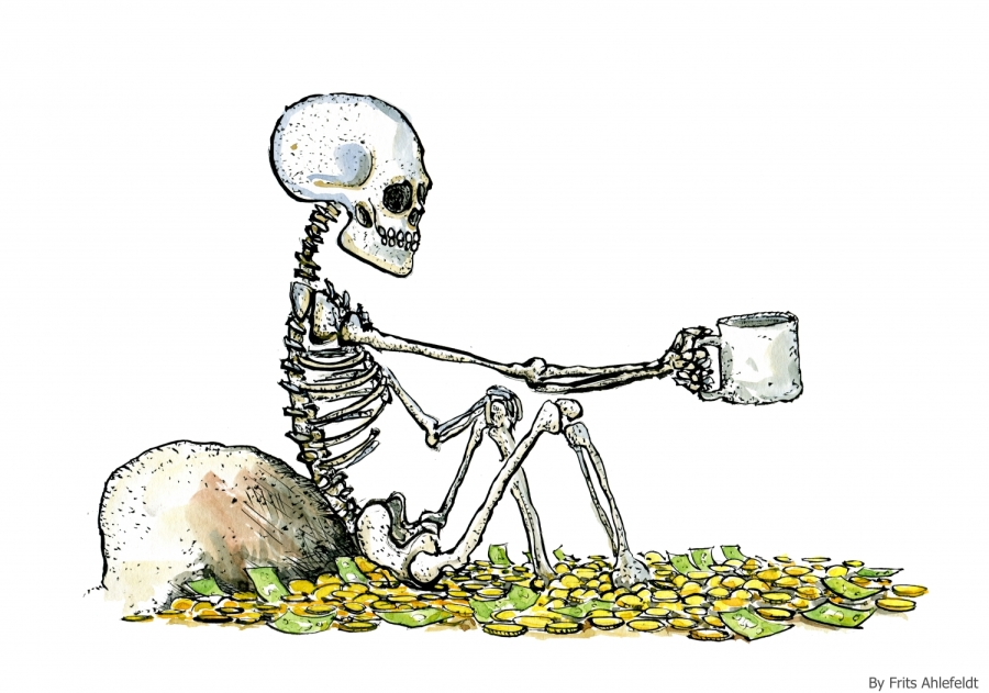 skeleton sitting in money, begging for water