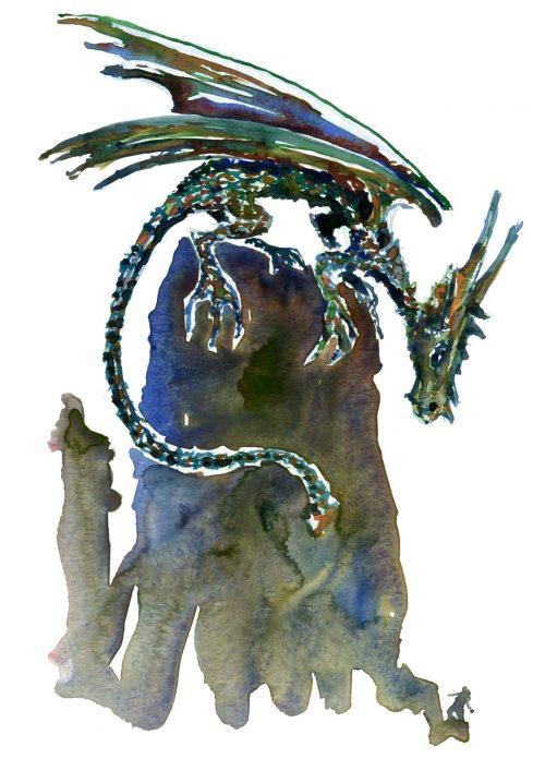 Dragon study, watercolor