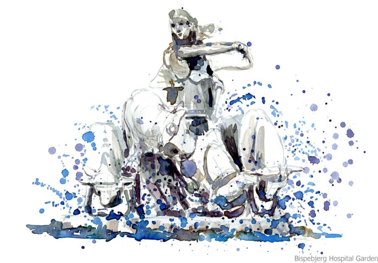 Fountain watercolour