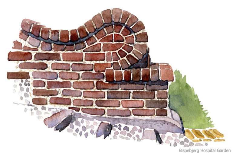 Watercolor of wall in garden