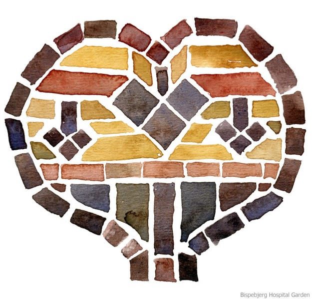 Watercolour painting of brick heart