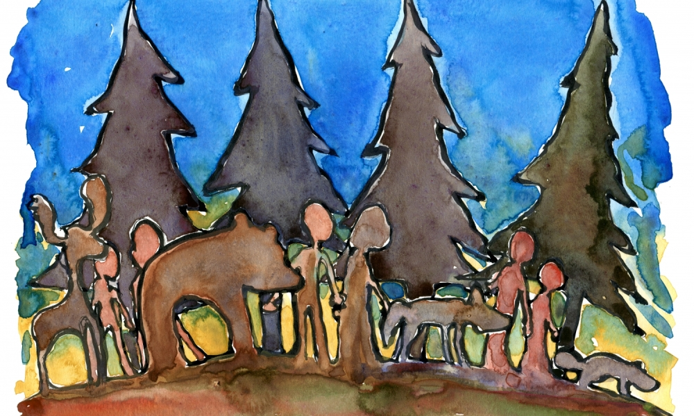 Drawing of people, pine trees, bear, moose and people