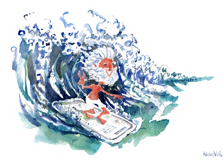 old-mobile-surfer-watercolor-version