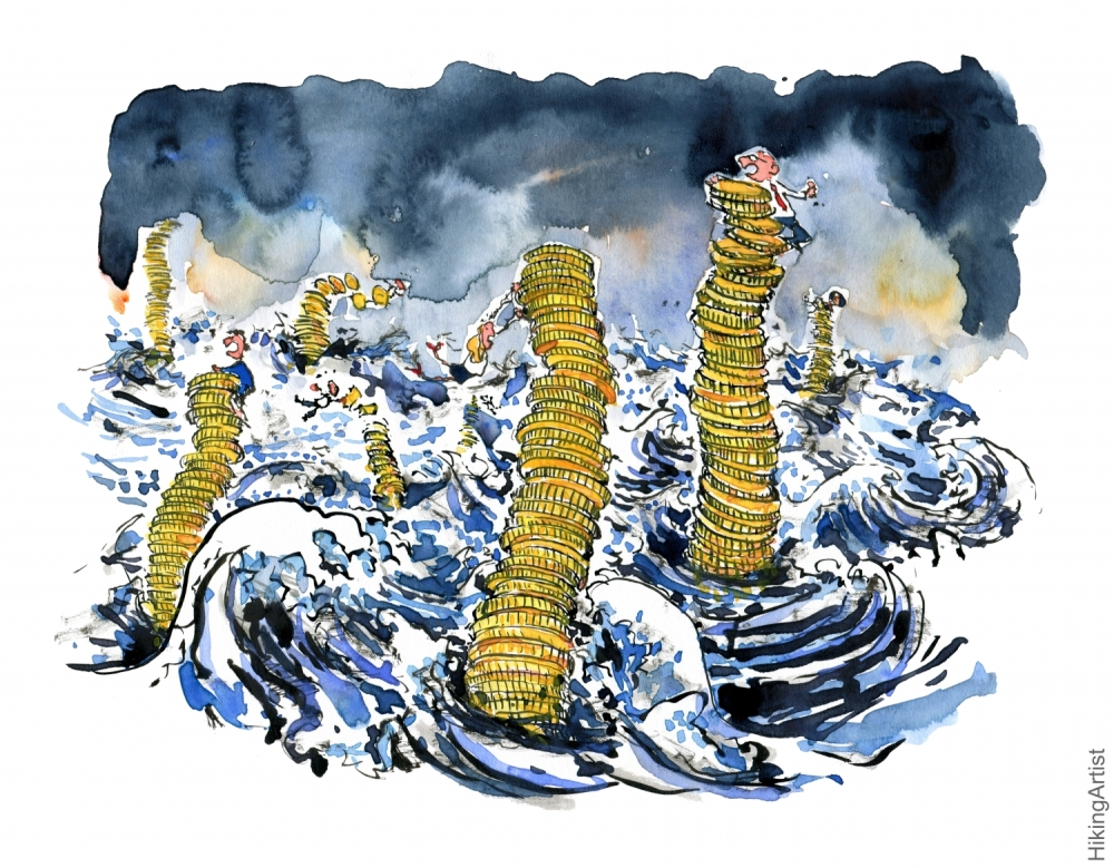 Drawing of stack of coins in high stormy sea