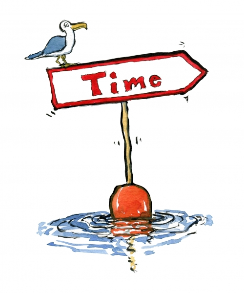 Sign with time on it and a seagull