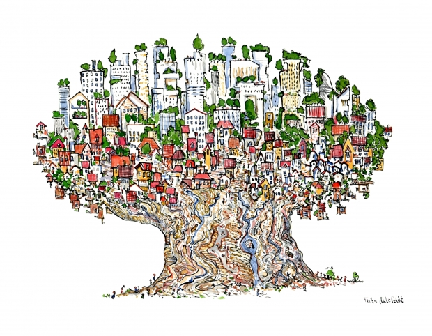 Urban Community Drawing Drawing of a City in a Tree