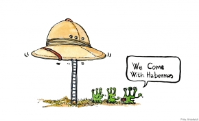 Drawing of mars men saying we come with Habermas