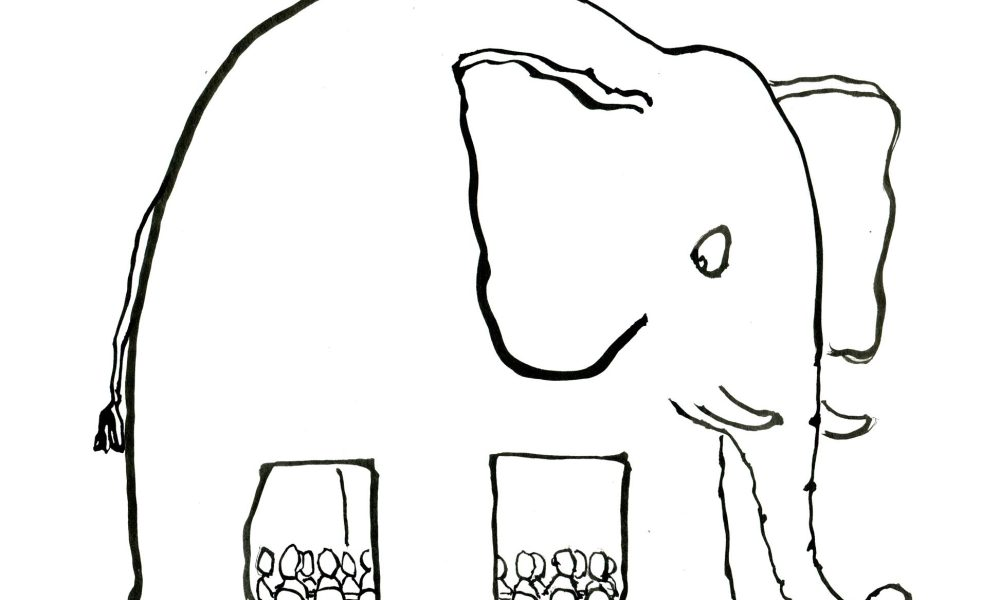 Drawing of an elephant room