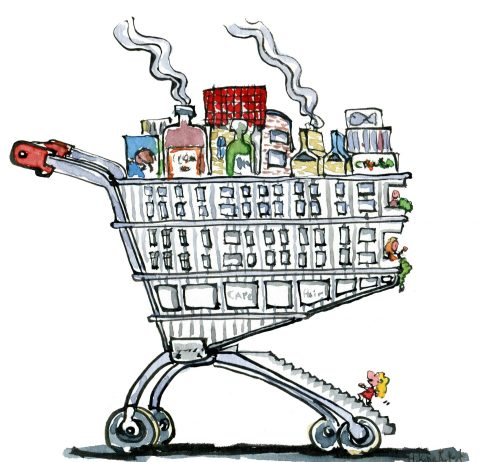 drawing of a town designed as a shopping trolley