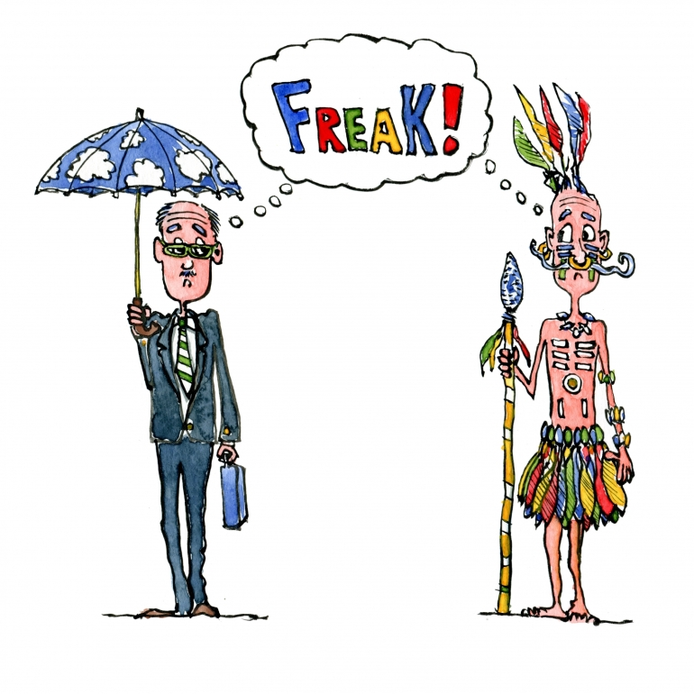 "Drawing of an British Gentleman and an tribal chief meeting and thinking ""freak"""