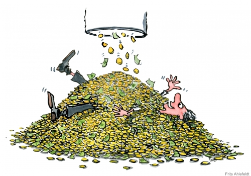 Man lying in coins, covered in money drawing