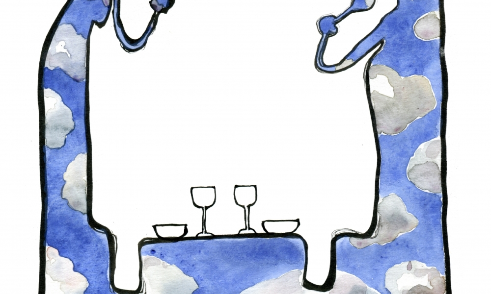 Drawing of a couple eating dinner drawing made of clouds