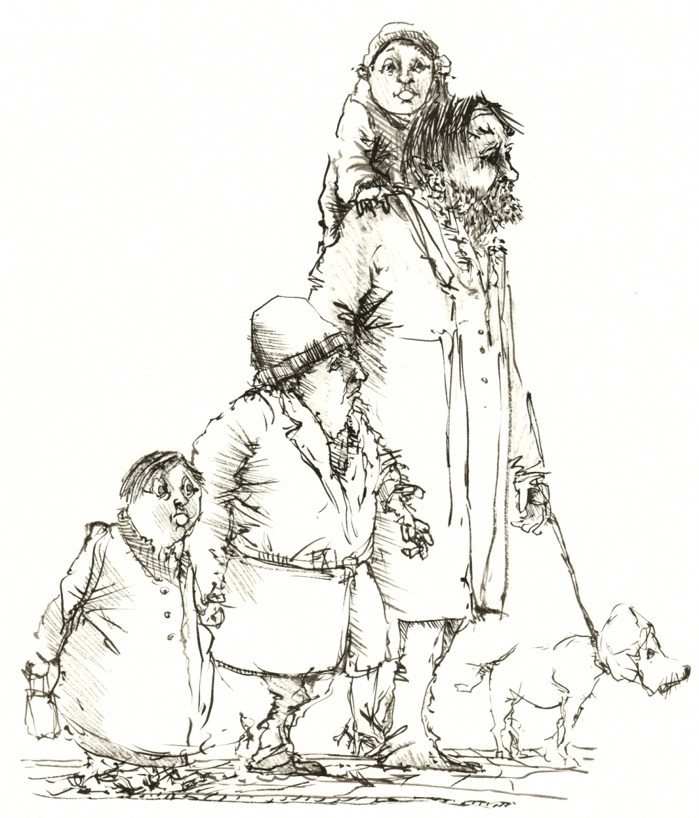 Drawing of a strange family