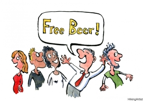 Man in a bar shouting free beer