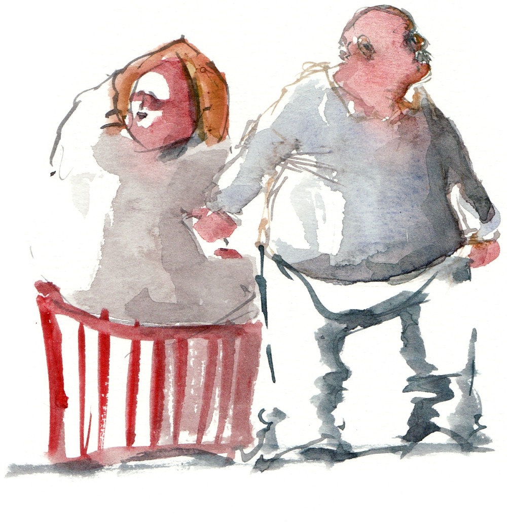 Watercolor of man and wife standing