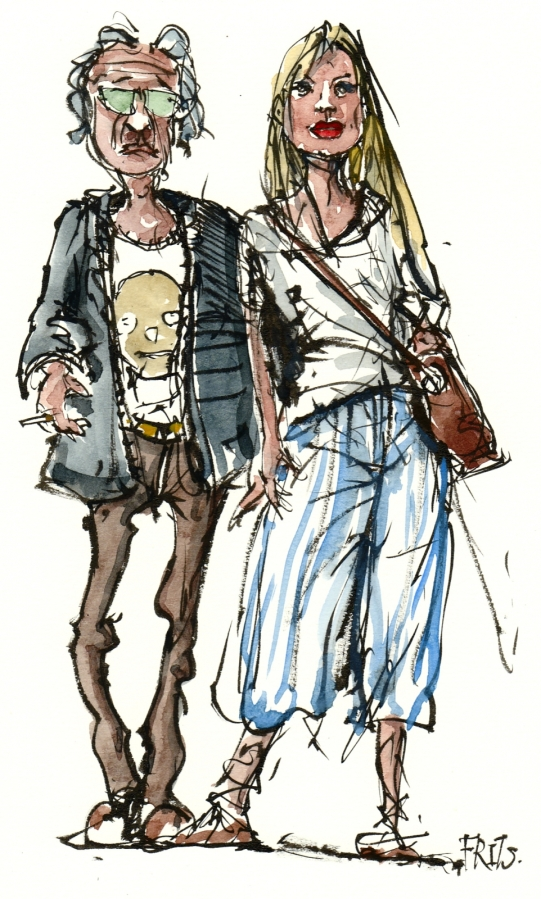 Drawing of an couple with street style
