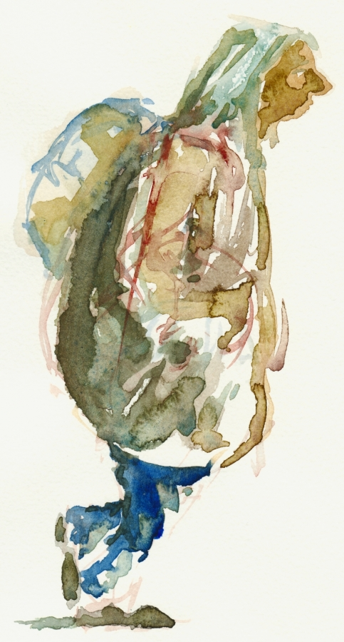 Old woman walking (Watercolor)
