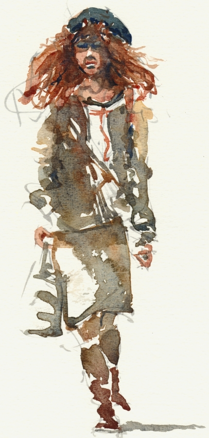 Watercolor red haired woman walking