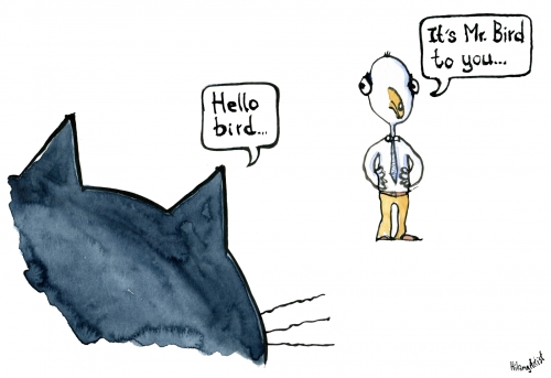 "Drawing of a cat saying ""hello bird"" and the bird say ""its mr. bird"""