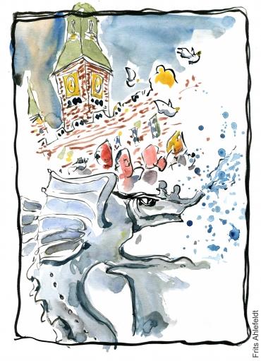 Ink and watercolor sketch, Copenhagen Main Square