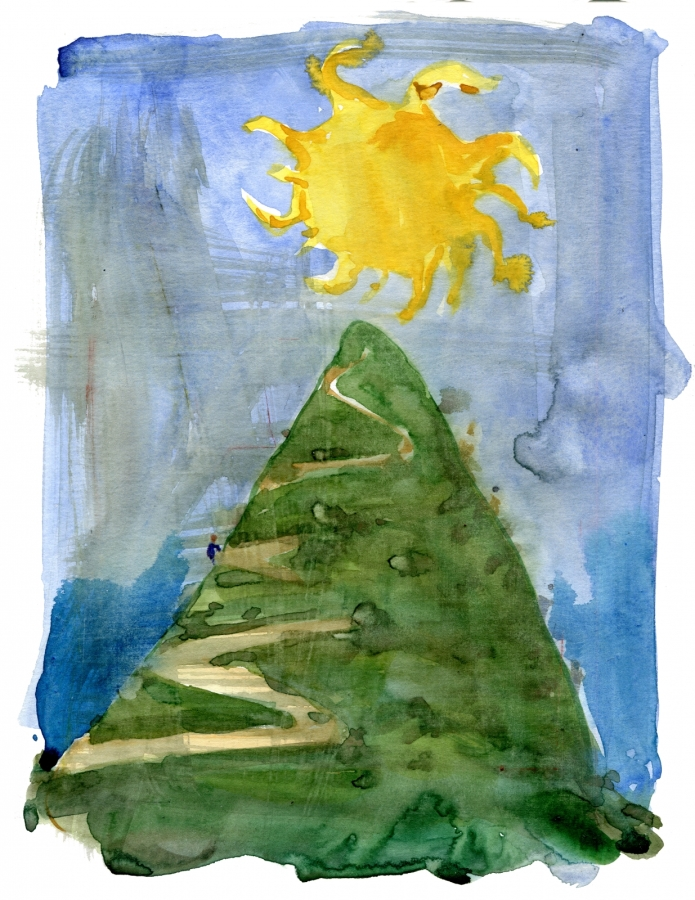 Sun on top of a hill with a hiker heading up