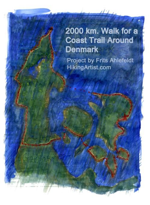 map of Denmark with coast walk