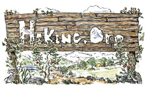 Drawing by Frits Ahlefeldt, of a Hiking.org sign,