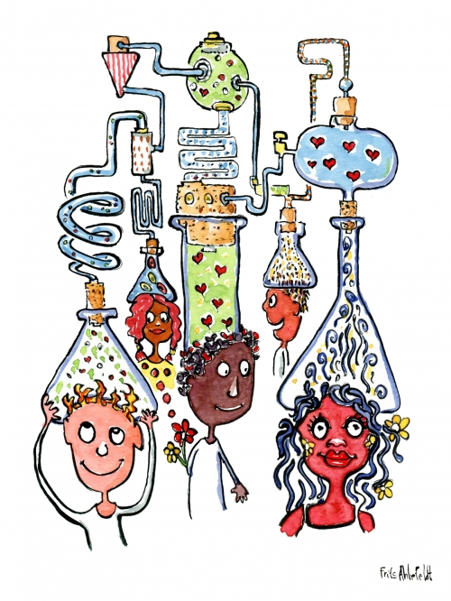 group of young people with hearts and chemical reactions on their heads
