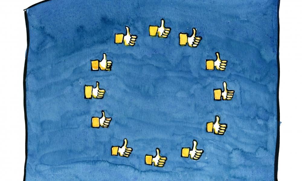 EU flag with like hands